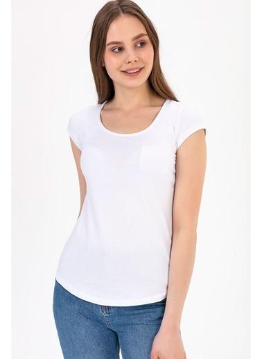 Tiffany&Tomato U Yaka Cepli Kısa Kollu T-Shirt Beyaz